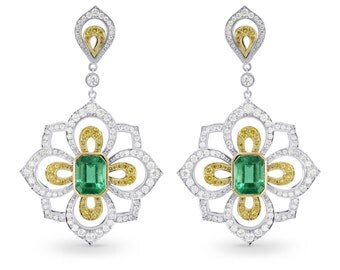 Emerald and Fancy Intense Yellow Diamond Drop Earrings , Earrings mounted in 18K white & yellow gold,Emeralds weighing 3.13Ct TW, SKU:160164