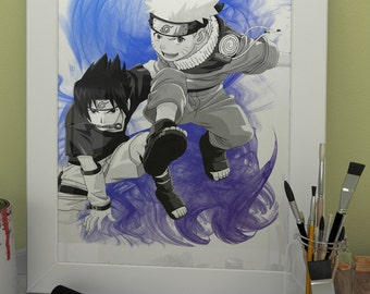 Naruto Sasuke Uchiha Anime Manga Game Watercolor print poster Game Art Wall Decor no.015