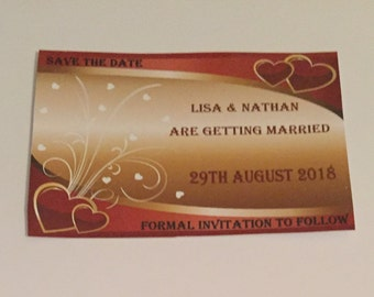 Save The Date Cards/Personalised Save The Date/Wedding Invitation/Heart Design