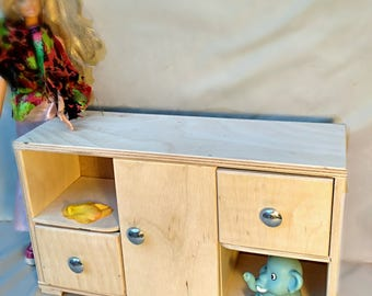 Wooden doll chest 2 drawers, handemade, doll furniture, american girl, barbie
