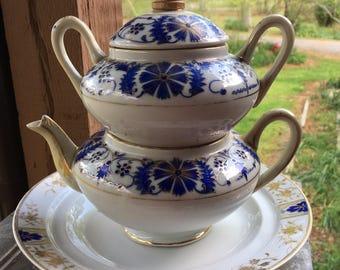 Nippon hand painted 4 piece tea set blue gold white Porcelain