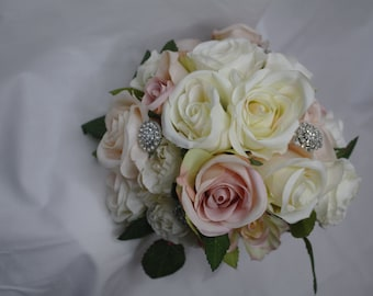 Blush Pink Diamante Bouquet / Wedding Flowers / Roses / Pink / Diamante / 9 inches wide