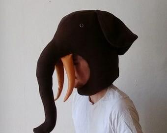 brown elephant soft fleece stuffed hat/head