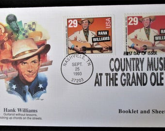 Original Hank Williams 1st Day of Issue Envelope. Nashville, TN. 1993. Country Music At The Grand Ole Opry