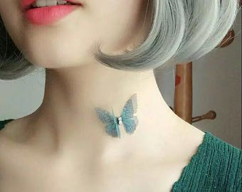 Gorgeous  Butterfly Clavicle Necklace with Invisible Silver Chain,Pick any 2 colors