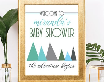 Mountain Baby Shower Sign   Customizable Text   The Adventure Begins Theme    Printable   8.5