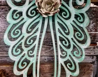 Rustic turquoise angel wings