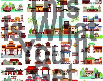 Chinese Traditional Architecture character Clip Art photo for your art projects/ scrapbook