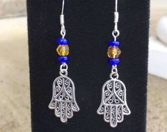 Henna Hamsa Hands Earrings, BoHo Jewelry, Bohemian, Henna Hands, Charm Earrings