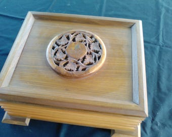 wonderful box,on the feminine side. great for jewelry box.nice and large