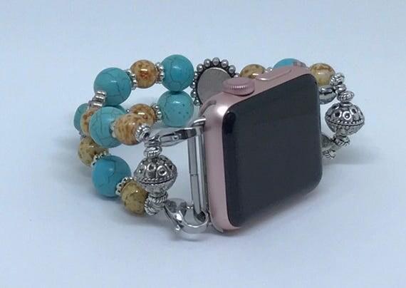 """Apple Watch Band, Women Bead Bracelet Watch Band, iWatch Strap, Apple Watch 38mm, Apple Watch 42mm, Turquoise, Brown Size 6 1/2"""" - 6 3/4"""""""