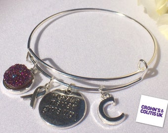 Purple Awareness Bracelet, Crohn's and Colitis, Fibromyalgia, Cancer, Alzheimers, Dementia, Lupus, Inspiration Charms, Medical Bangle