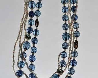 Vintage Blue and Clear Beaded Necklace