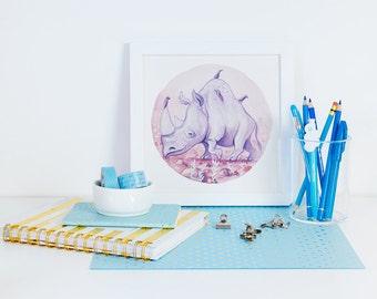 Rhinoceros Animal Art Illustration Square Print