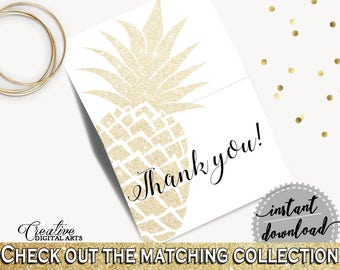 Thank You Card Bridal Shower Thank You Card Pineapple Bridal Shower Thank You Card Bridal Shower Pineapple Thank You Card Gold White 86GZU