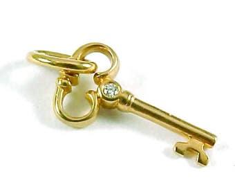 Petite 18k Gold Diamond Key Pendant Charm