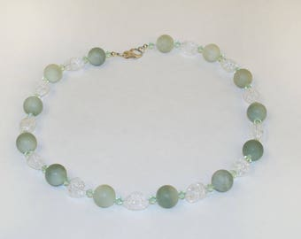Necklace Chrysoprase Swarovski rock crystal Silver carabiner