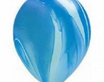 28cm Blue & White Super Agate Latex balloon