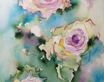 "Watercolor ""Roses"" flowers, nature, 17 x 24 cm, unique"