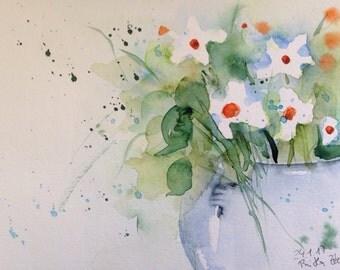 ORIGINAL WATERCOLOR art watercolor painting bouquet flowers Watercolour