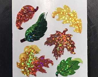 Sandylion Stickers Scrapbook, vintage Glittery Fall Leaves, Leaf  (1 mod)