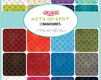 "New Grunge Hits The Spot BasicGrey Charm Pack for Moda Fabrics - 42, 5"" X 5"" Precut Fabric Squares."