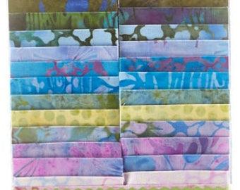 "Lotus Blooms Batiks Strip Pack/Jelly Roll by Kathy Engle for Island Batik - 40, 2.5"" of Precut Fabric Strips"