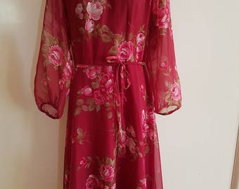70s Retro Red Rose Floral Day Party Dress