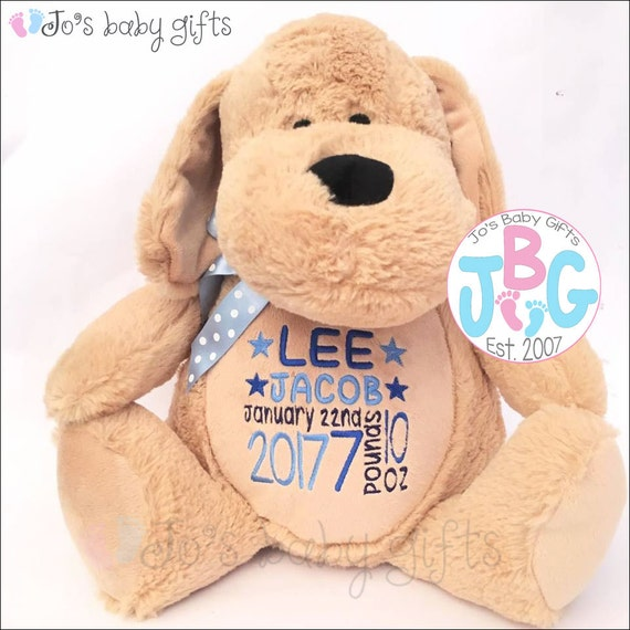 Personalised Dog Teddy Bear, custom teddy, embroidered bears, new baby gift, baby shower/ christening gifts