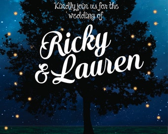 Rustic Tree & Fireflies Wedding Invitation