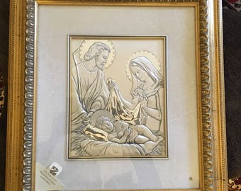 Joesph, Mary, and baby Jesus Sterling Silver Overlay Picture