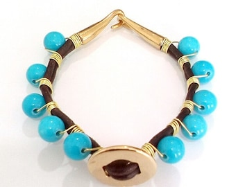 Turquoise Braceley and Natural Leather, Golden Thread