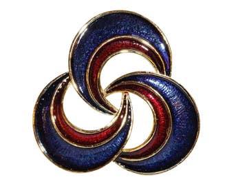 Brooch VINTAGE SPHINX - Moon spiral blue red