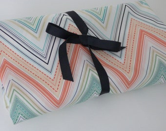 Peach,Mint and Black Chevron Striped Crib Sheet/ Crib Bedding