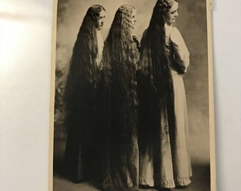 Vintage 1970's Quirky Real Photo Postcard RPPC 3 women ladies very long hair creepy weird ephemera black and white photo collectible used