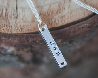 Mother Day Gift Personalized Jewelry For Mom Hand Stamped Necklace Mother's Day Necklace Personalized Gift for Her Sterling Silver Charm