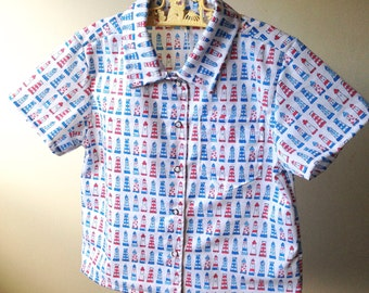 Size 3 red, white and blue lighthouse collared short sleeve cotton shirt