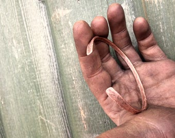 Delicate hand forged copper bangle