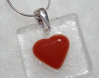 Fused glass red heart necklace