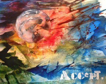Accept, Painting Prints, Acrylic Ink, Inspirational Art 11x14, Abstract,