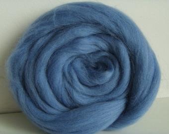25g carded wool felting or spinning Merino medium blue