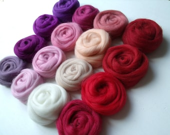 "Lot of 16 color ""Rose-Red-Violet"" felting or spinning 160g Merino Wool"