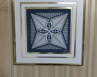 The Elements - Earth Air Fire Water Fiber Art Framed Art Needlework