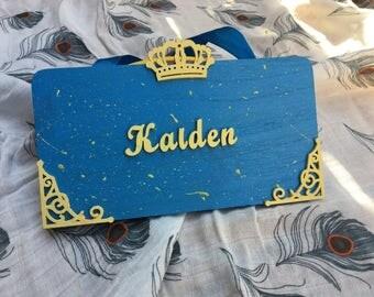 Childrens bedroom door sign, boy room decoration sign,king door sign for a boy room