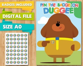 Hey Duggee Party Game Pin the Badge on Duggie, Birthday Balloon Badge Tokens, Printable A0, Pin the Tail, Party Supplies