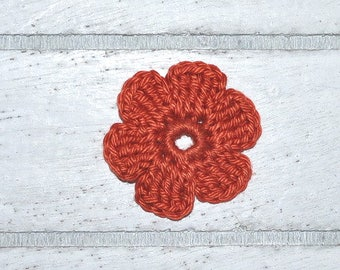 Flower - reddish brown with crocheted - patch - patch - application