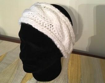 Cable Knit Headband, Hand Knit Turban Ear Warmer, Knitted Headband