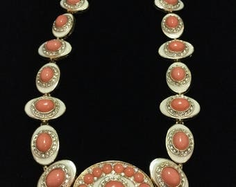 KENNETH LANE Enameled and Faux Coral Necklace