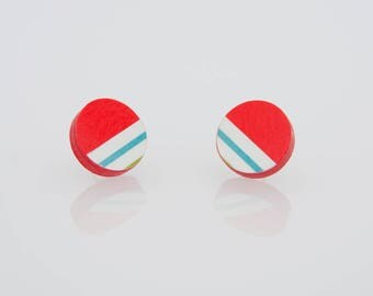 Bottonciotti--lobe earrings textured paper red white and blue stripes, handmade, ecofriendly