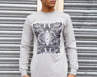 Junq Couture RA5 Grey Longline oversized sweatshirt with central print